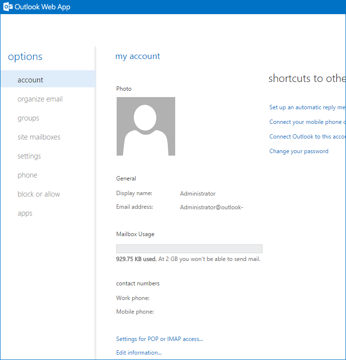 account details window