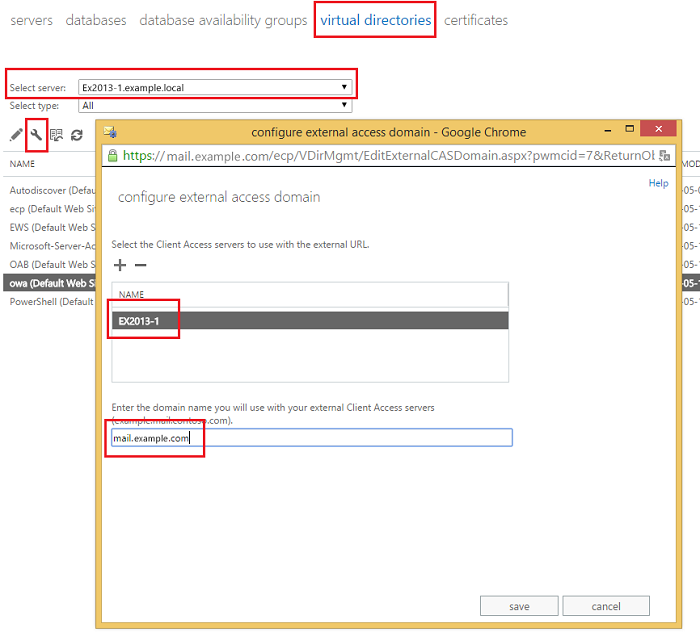 Exchange admin center: Providing external access domains for virtual directories