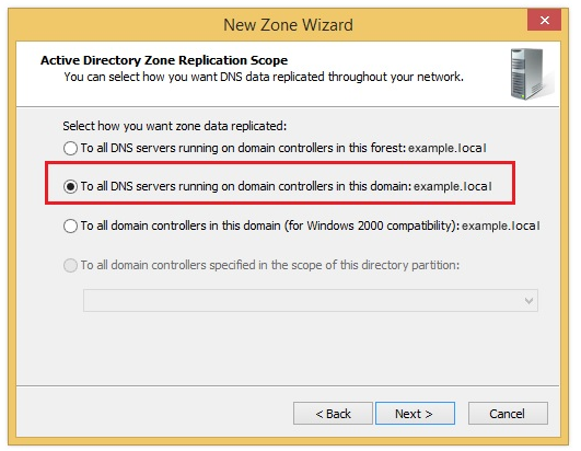 DNS Manager: Second step of creating new zone