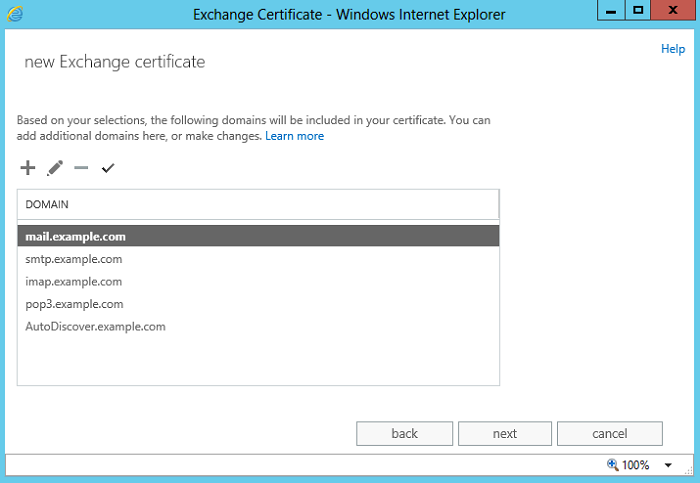 Exchange admin center: The sixth step of the certificate request wizard