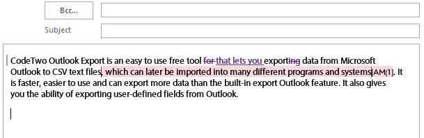 Text including Track Changes markup and Comments, pasted into an Outlook message