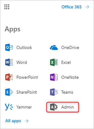 Admin app in Office 365