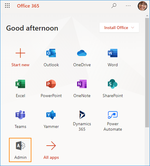 Access Microsoft 365 admin center