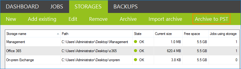 CodeTwo Backup Archive to PST option
