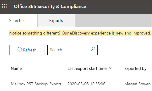 eDiscovery content search Export tab