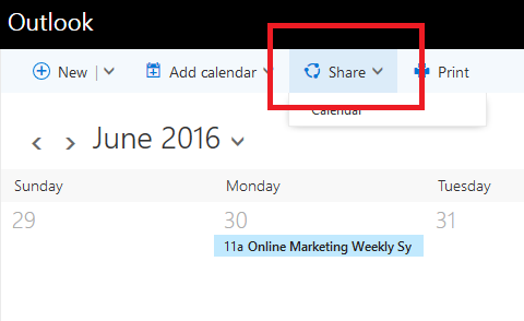 Calendar sharing option in Office 365 Outlook