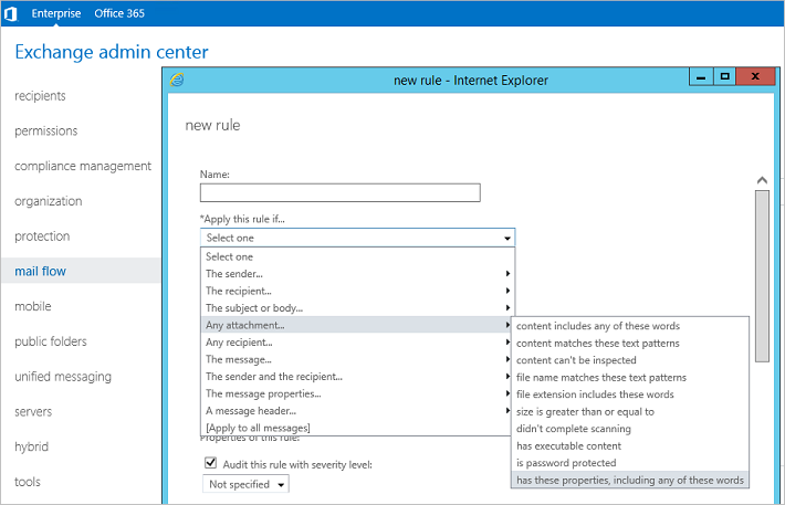 In Exchange Server 2016, there is a new condition added.