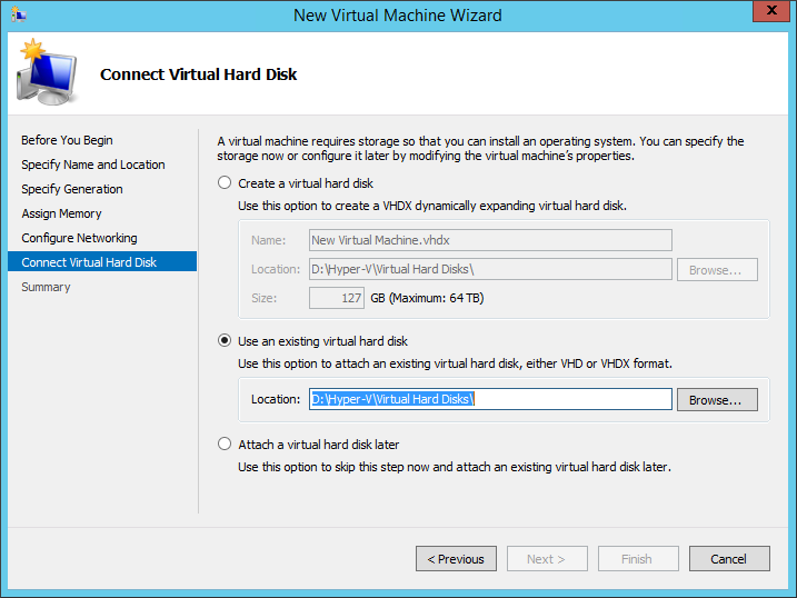 Connect an existing virtual hard disk in the New Virtual Machine Wizard.