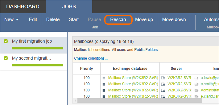 Rescan option in CodeTwo Exchange Migration