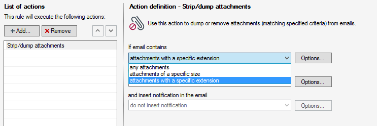 Adjusting the Strip/dump attachments action's settings
