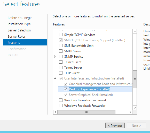 Windows Server 2012: Add Feature Wizard with the Desktop Experience feature highlighted