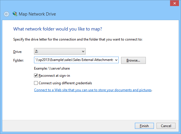 SharePoint library as a mapped network drive