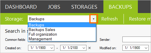 Select a storage to search