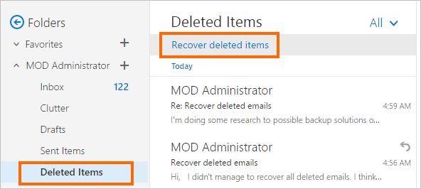 Recover deleted items directly from the Deleted Items folder