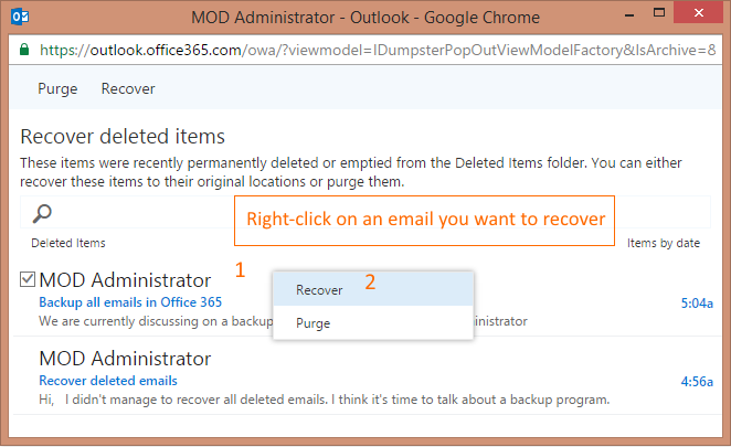 Recoverable Items folder - recover an email