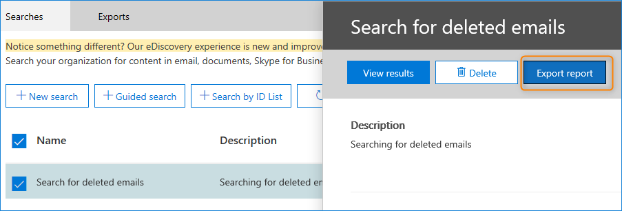 export search report in eDisovery