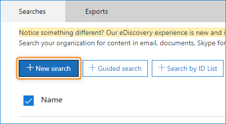 new content search in eDiscovery