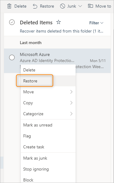 restore deleted items Microsoft 365