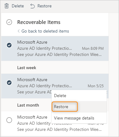 restore purged items in Outlook on the web