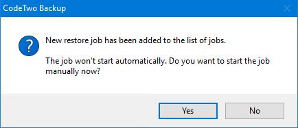 Start a restore job