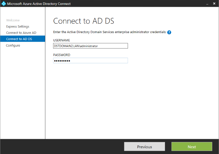 Azure AD Connect - connect to AD DS.