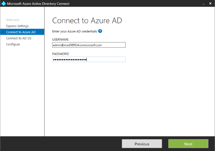 Azure AD Connect - connect to Azure.