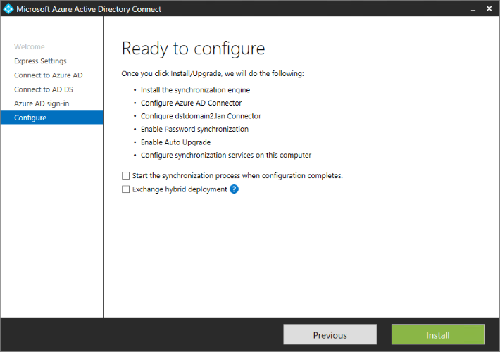 Azure AD Connect - ready to configure page.