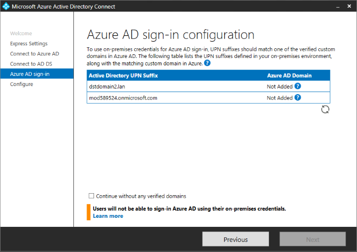 Azure AD Connect - sign-in configuration.