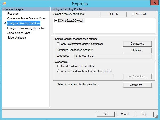 Configure directory partitions.