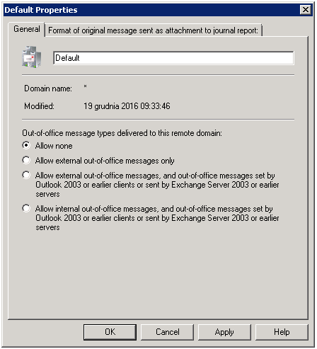 Default properties when setting up remote domain on Exchange 2007.