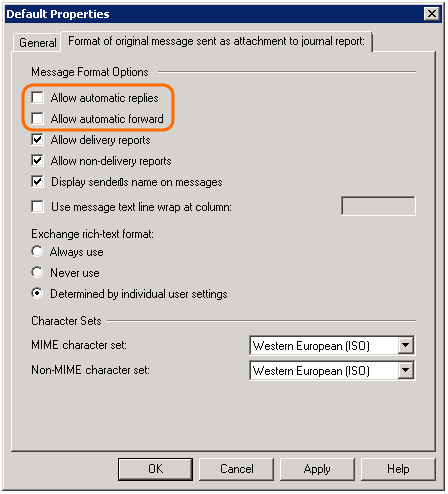 Exchange Server 2007-2010 message format settings.