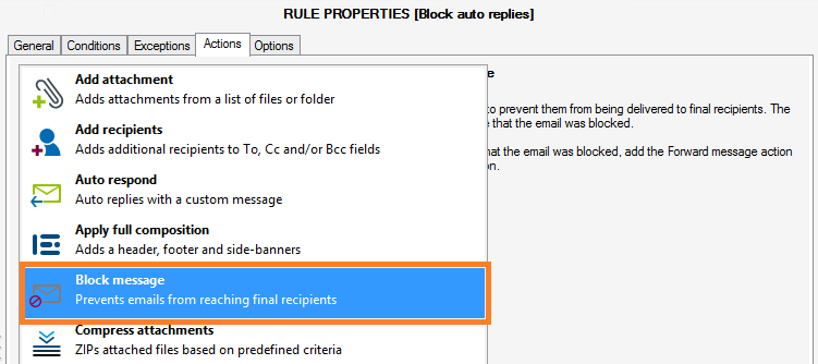 CodeTwo Exchange Rules Pro - block message action.