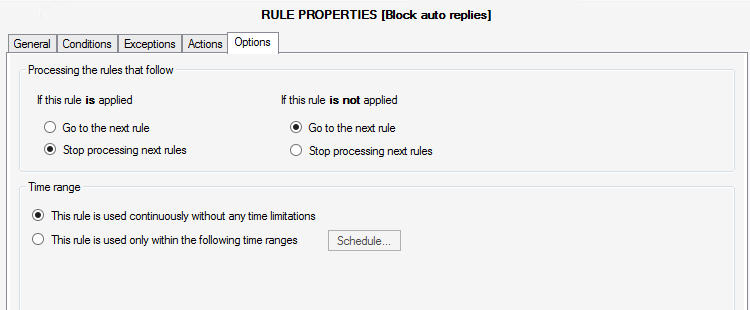 CodeTwo Exchange Rules Pro - options tab.