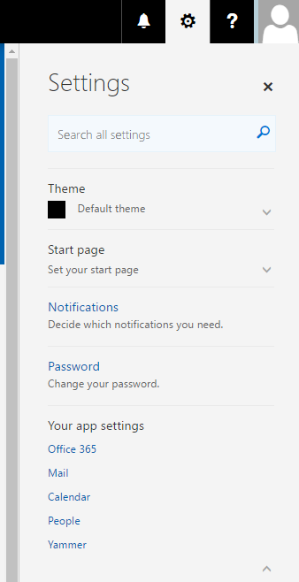 Settings in Office 365.