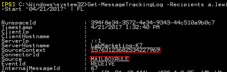 Managing Outlook rules Get-MessageTrackingLog details