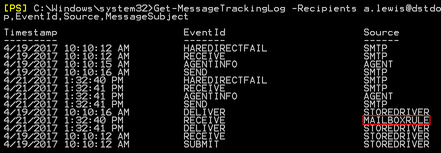 Managing Outlook rules Get-MessageTrackingLog