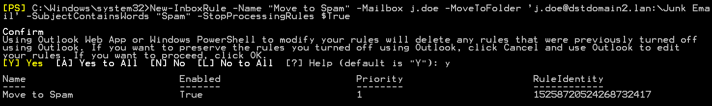 New-InboxRule rule move to spam