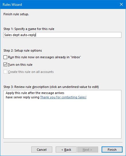 autoreply for shared folder 11 finish rule setup
