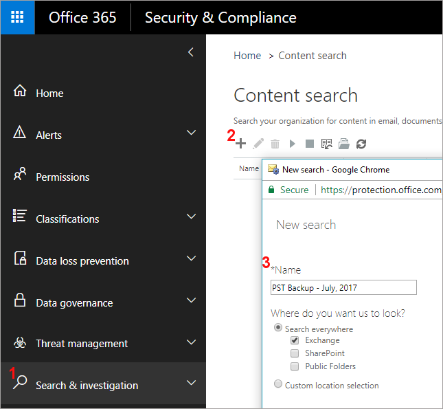 Create New Content Search in Office 365 eDiscovery