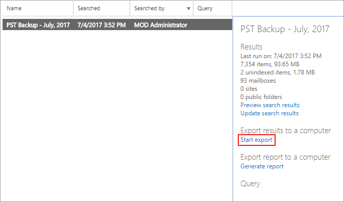Export Office 365 Mailboxes to PST files