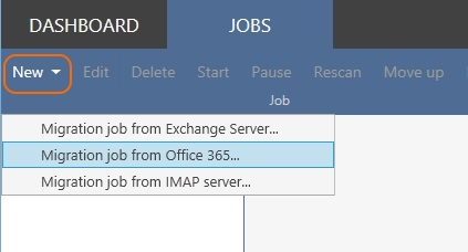 New migration job from Office 365 tenant.