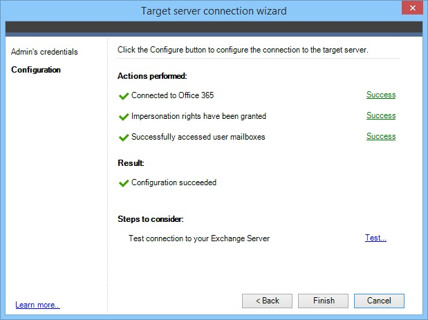 Target server configuration finished