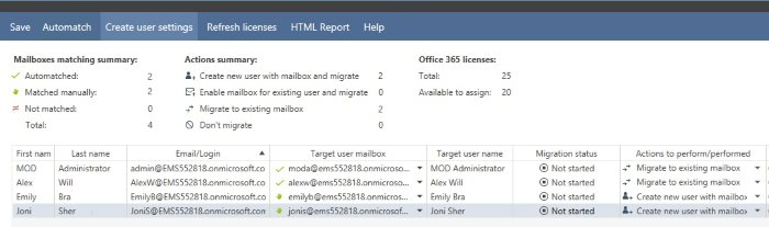 Match user Office 365 mailboxes