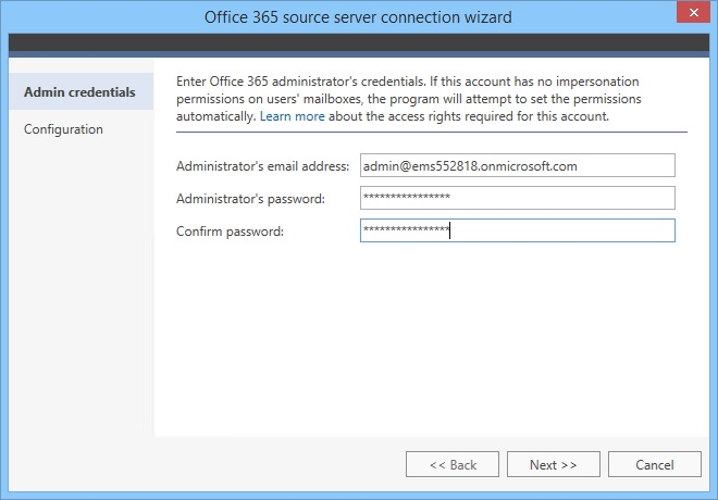 Source server connection - providing admin credentials.
