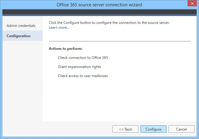Configure source server connection to Office 365 organization.