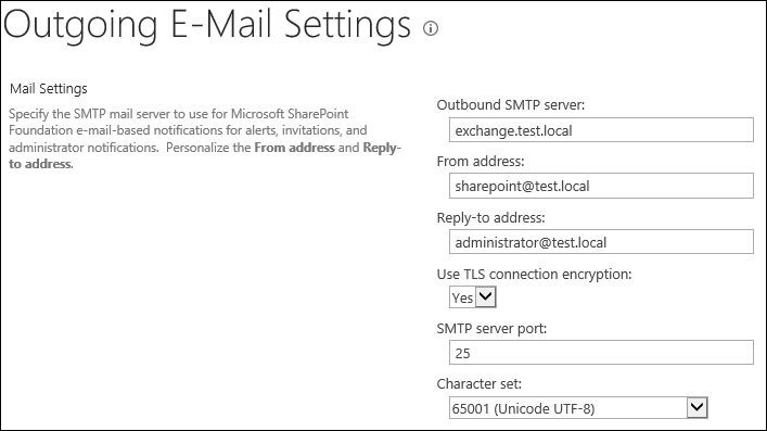 Exchange 2016 and Sharepoint integration outgoing email settings 2