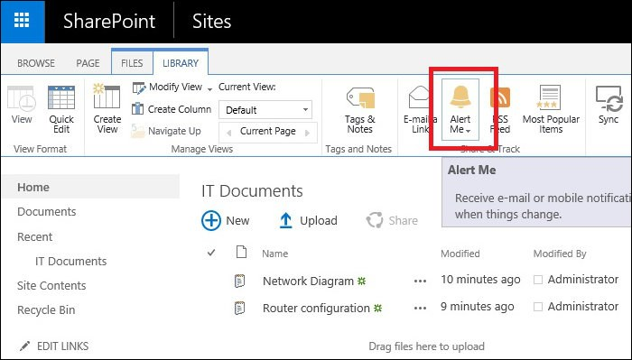 Exchange 2016 and Sharepoint integration alerts