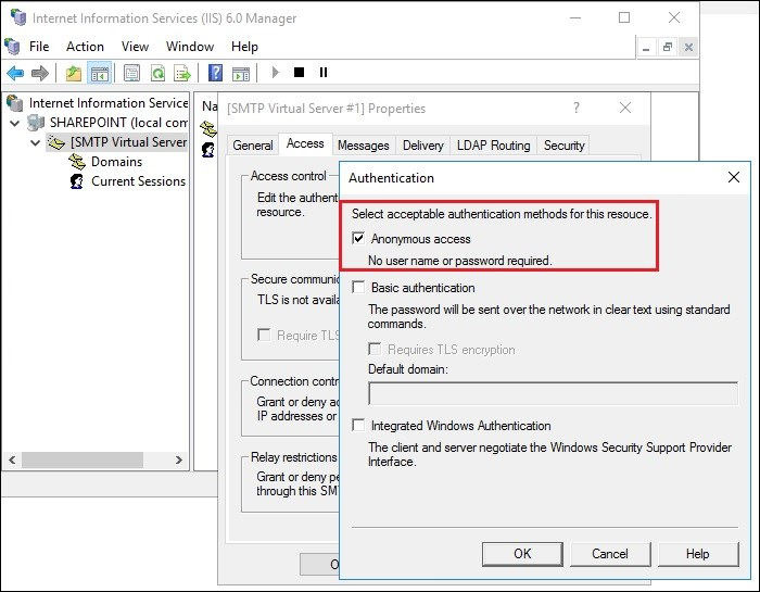Exchange 2016 and Sharepoint integration anonymous access