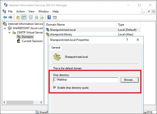 Exchange 2016 and Sharepoint integration Maildrop location
