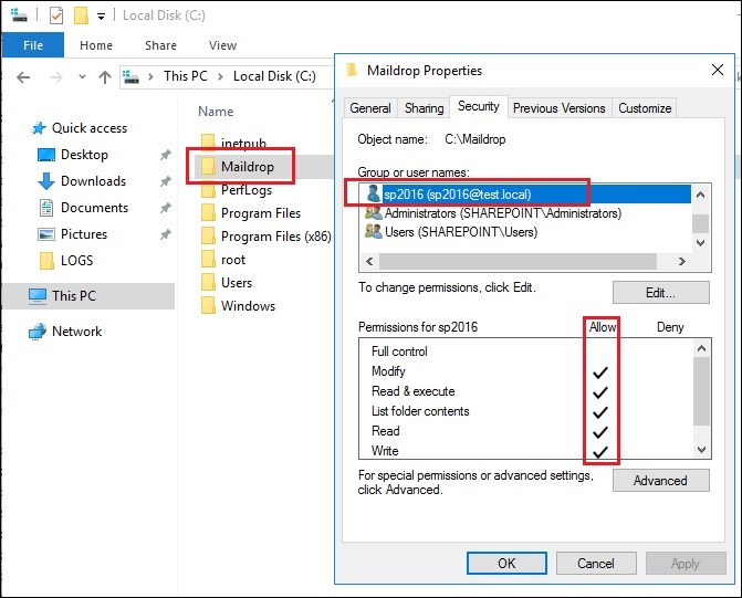 Exchange 2016 and Sharepoint integration required permissions